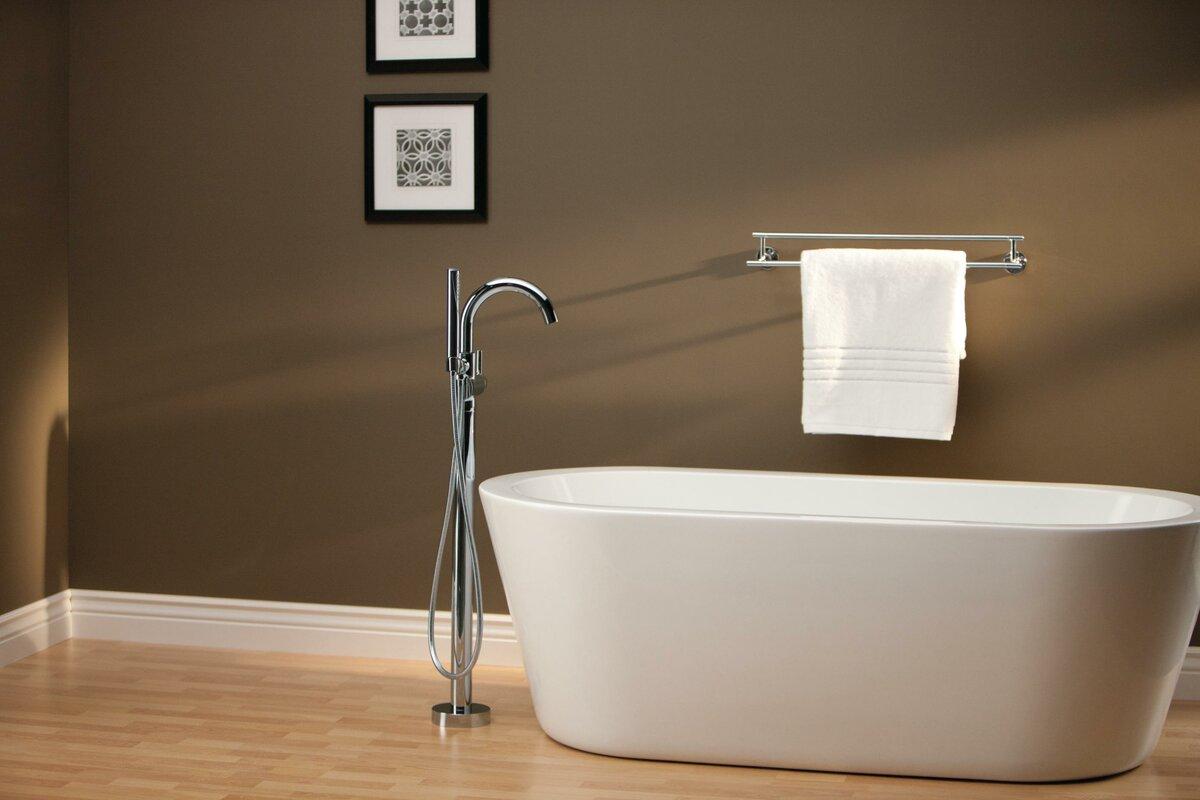 Trinsic® Bathroom Single Handle Floor Mount Tub Filler With Hand Shower