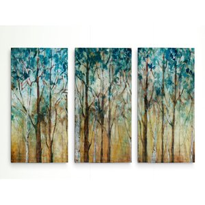 'Sunlit Birch Grove' Acrylic Painting Print Multi-Piece Image on Wrapped Canvas by Red Barrel Studio