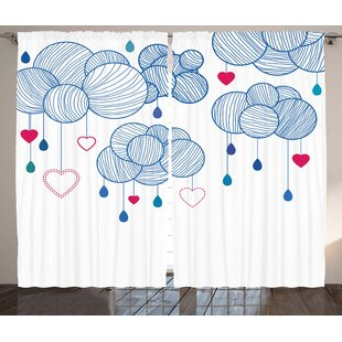Clouds With Hanging Hearts Decor Graphic Print Room Darkening Rod Pocket Curtain Panels Set Of 2