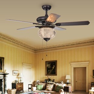 Compare prices 52 Lakes Crystal Bead 5 Blade Ceiling Fan By House of Hampton