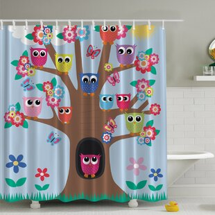 Guide to buy Owl Friends Tree Print Shower Curtain ByAmbesonne
