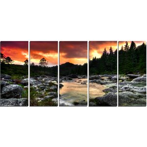 Rocky Mountain River at Sunset 5 Piece Wall Art on Wrapped Canvas Set by Design Art