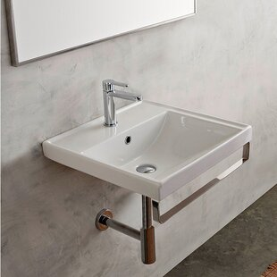 Compare ML Ceramic 24 Wall Mount Bathroom Sink with Overflow By Scarabeo by Nameeks