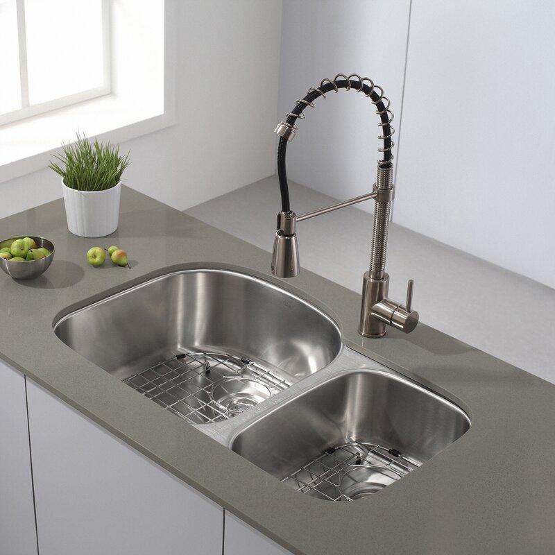 Kraus 32 x 20 double basin undermount kitchen sink with 32 x 20 double basin undermount kitchen sink with noisedefend soundproofing workwithnaturefo