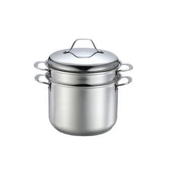Momscook en acier inoxydable 4-pièces 8-Quart pâtes//Steamer Set Tri-ply Base