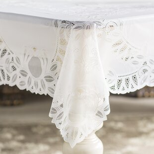 Fenn Crochet Vinyl Lace Rectangle Tablecloth