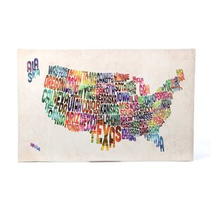 US States Text Map by Michael Tompsett Graphic Art on Canvas by Trademark Fine Art