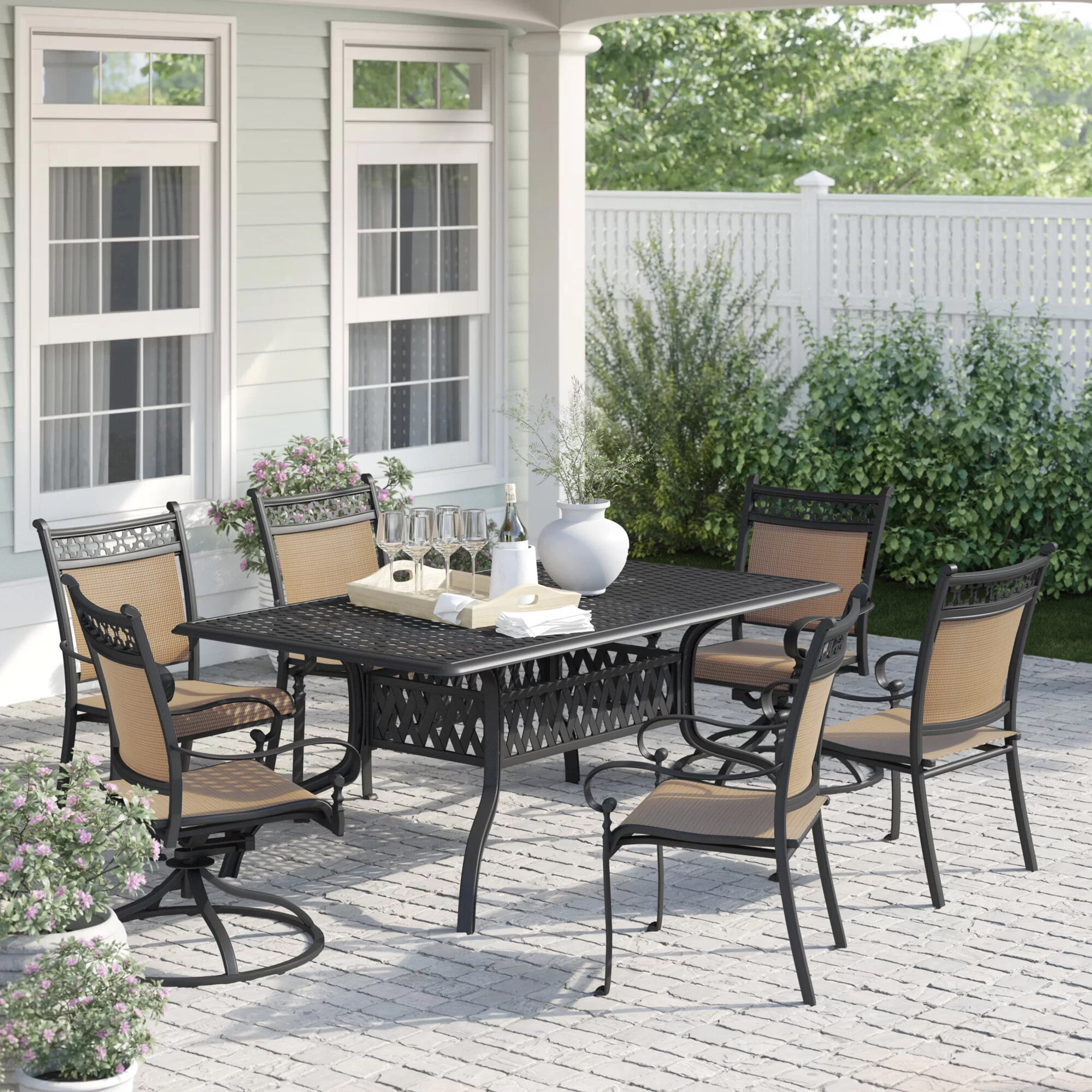 Curacao Traditional 7 Piece Dining Set