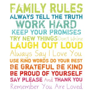 Family Rules Framed Textual Art on Wrapped Canvas by PTM Images