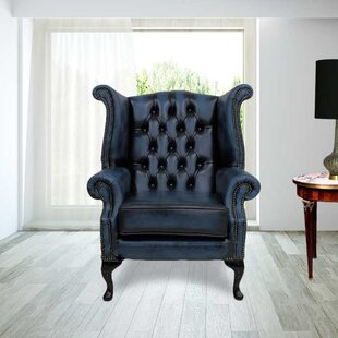 samatha queen anne leather wingback chair - Leather Wingback Chair