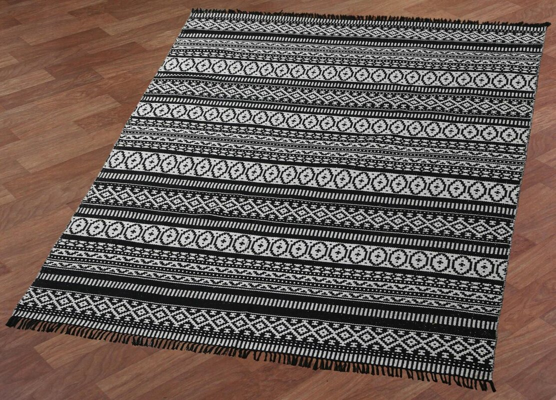 Complex Hand Woven Black White Area Rug Amp Reviews Birch Lane