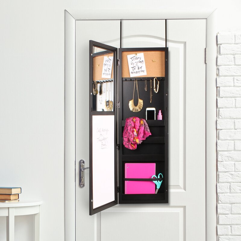 Storage Over the Door Jewelry Armoire with Mirror & Uniek Storage Over the Door Jewelry Armoire with Mirror u0026 Reviews ...