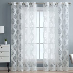 Adel Damask Sheer Grommet Curtain Panels (Set of 2)