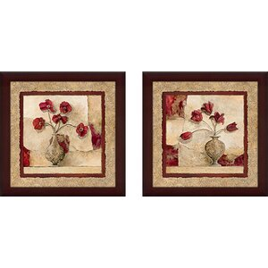 Cinq Tulipes' 2 Piece Framed Acrylic Painting Print Set Under Glass by Astoria Grand