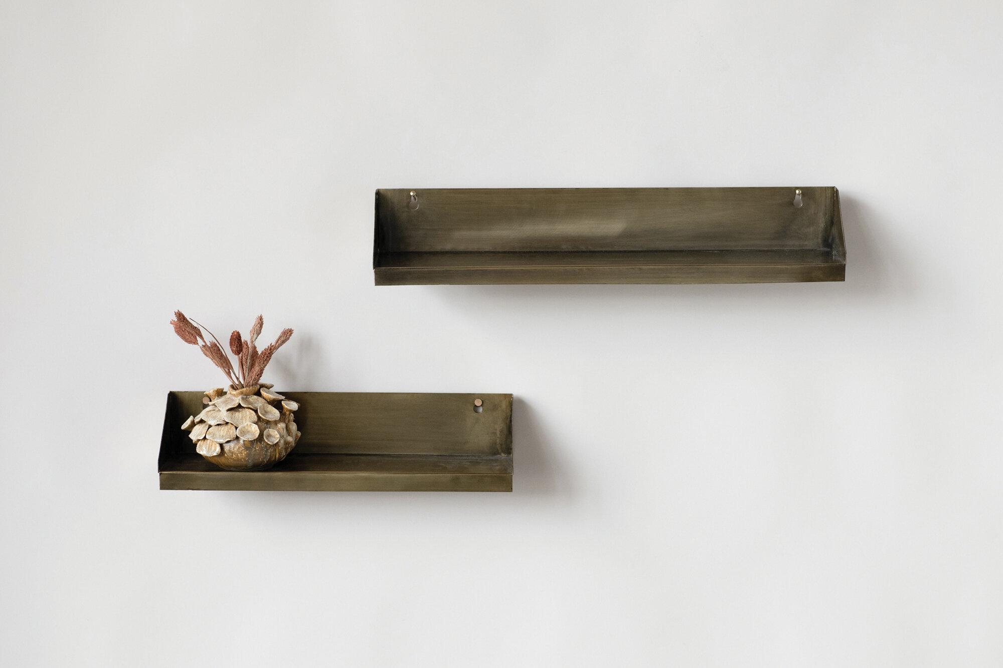 17 stories van cleef metal 2 piece floating shelf set c