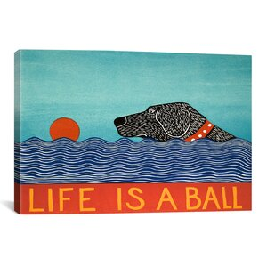 'Life Is a Ball' Graphic Art on Canvas in Blue; Red and Black by Andover Mills