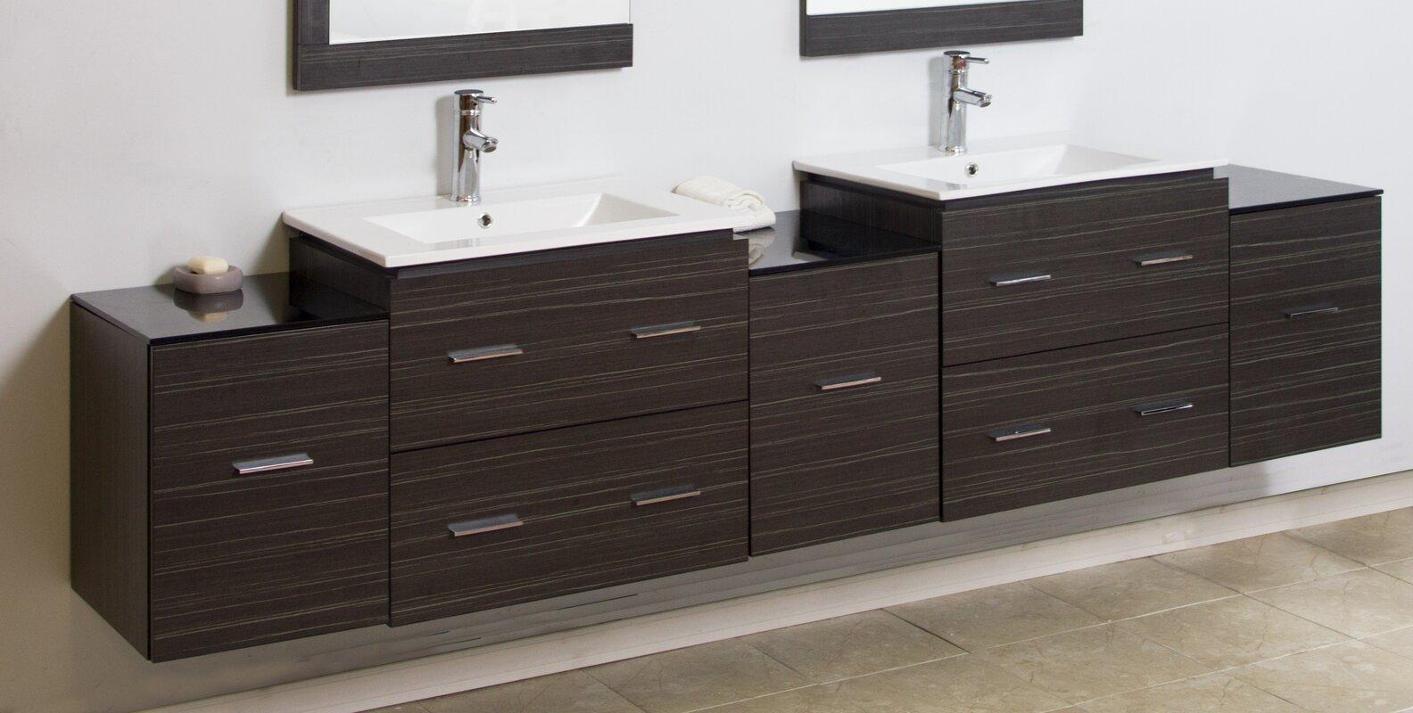American imaginations 90 double modern wall mount bathroom vanity set reviews wayfair - Linden modern bathroom vanity set ...
