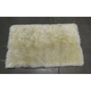Heiss Hand-Woven Sheepskin White Area Rug Mercer41