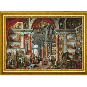 'Picture Gallery with Views of Modern Rome' by Giovanni Paolo Panini Framed Painting Print by Canvas Art USA