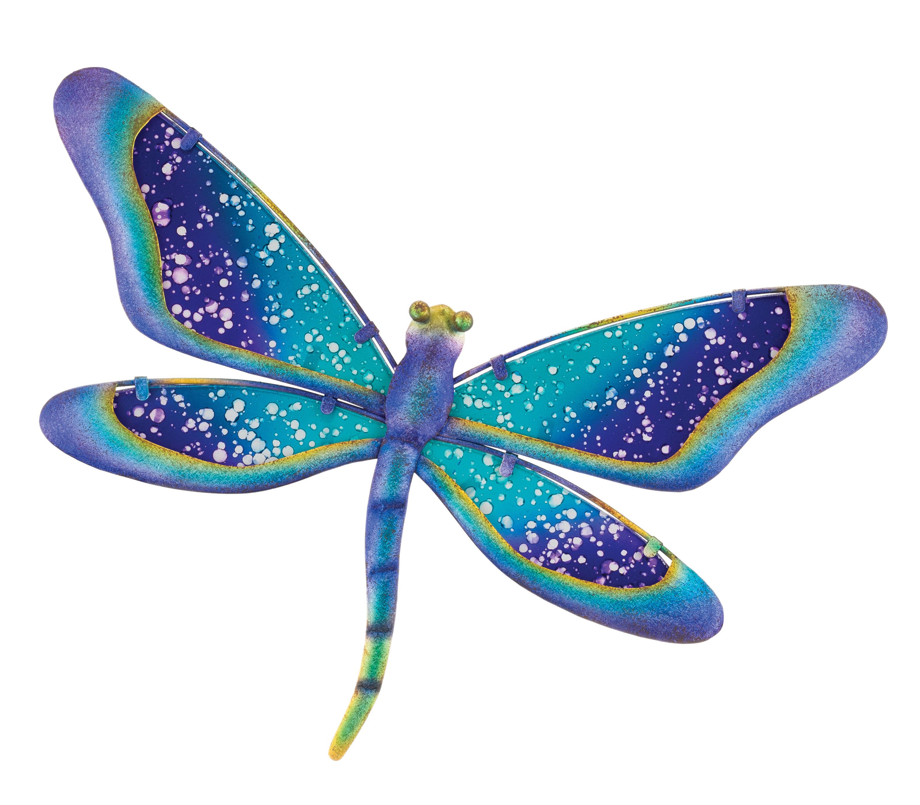 NEW Regal Art Gift Capri Dragonfly Wall Decor Metal Pastel Blue Set of 3