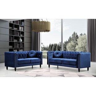 Cream Velvet Upholstery Nailhead Living Room Set by Rosdorf Park