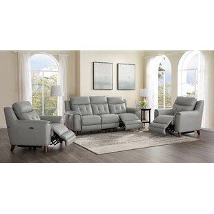 Nagata 3 Piece Leather Reclining Living Room Set by Latitude Run®