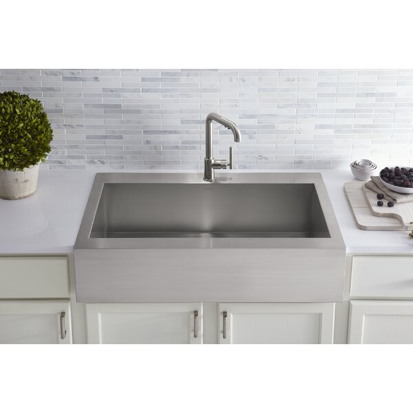 Vault Top-Mount Single-Bowl Stainless Steel Kitchen Sink with Shortened  Apron-Front for 36\