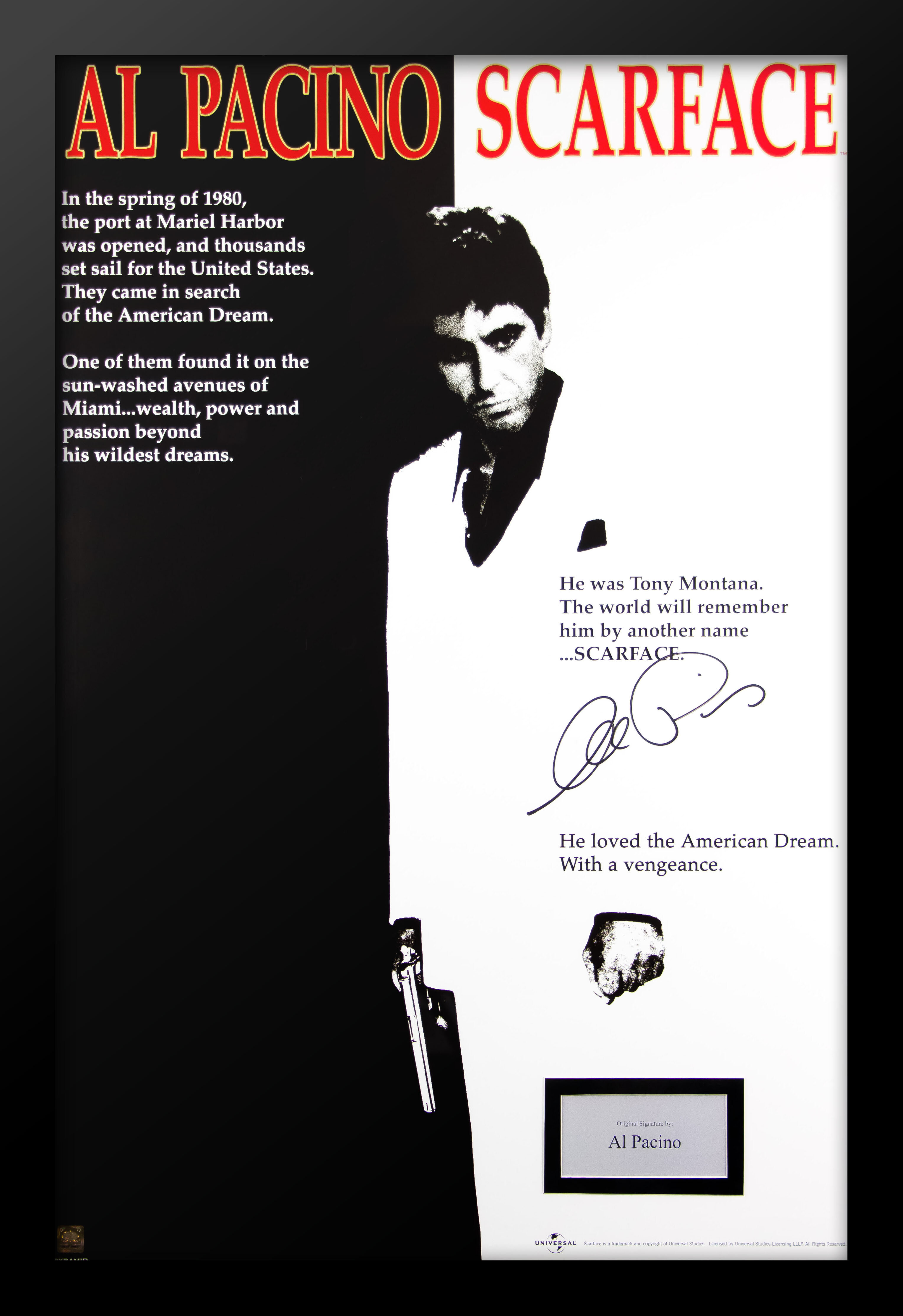 Scarface Poster Black Framed Ready To Hang Frame Free P/&P