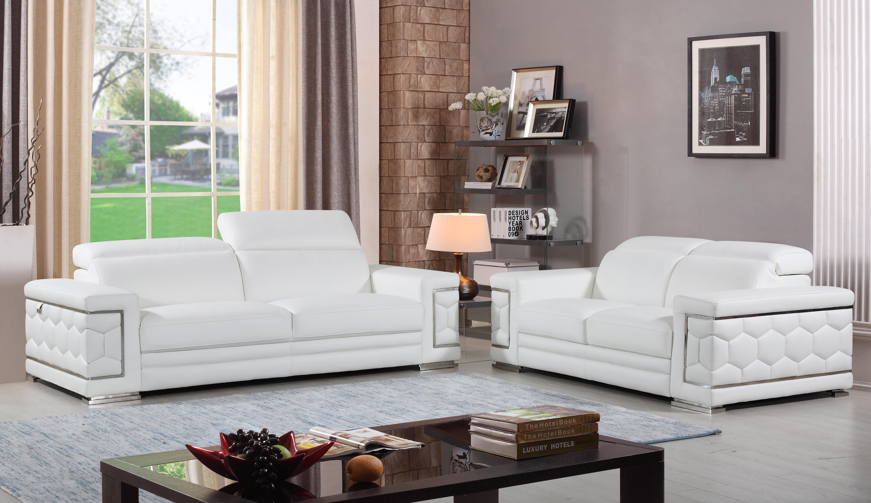 Orren Ellis Aiesrom Luxury Italian Leather 2 Piece Living Room Set Reviews Wayfair