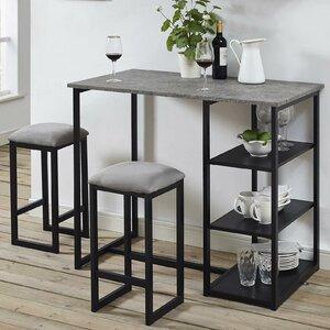 Denham 3 Piece Grey Pub Table Set