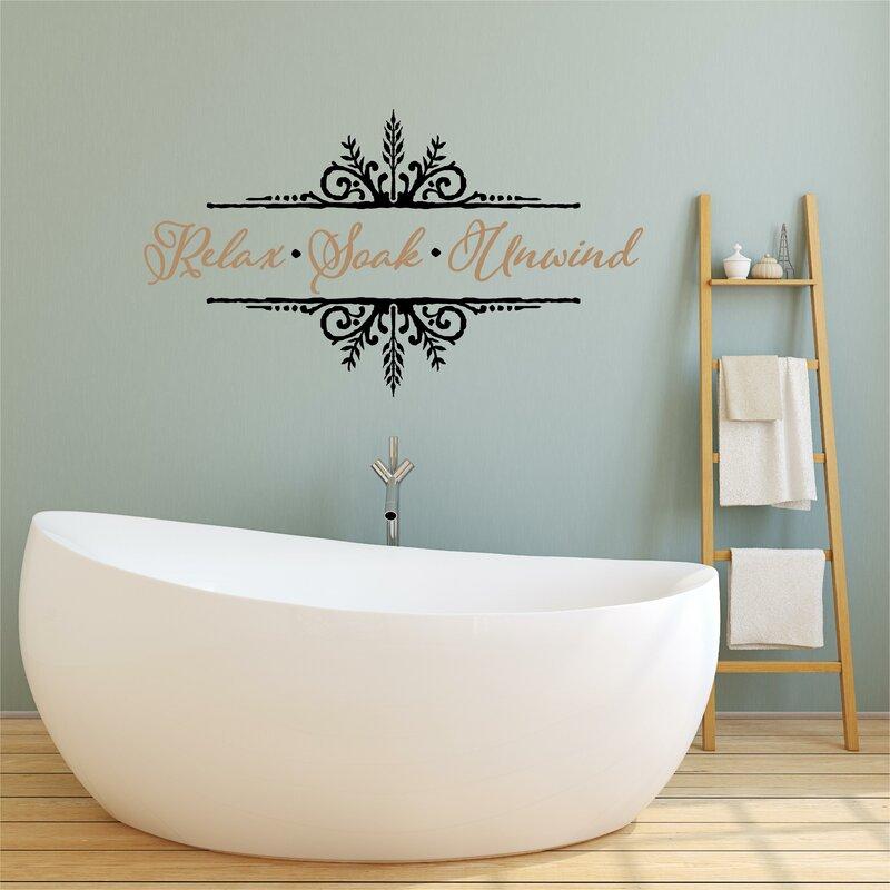 SOAK ALL YOUR TROUBLES AWAY Words Bath Vinyl Decal Bathroom Wall Art Lettering