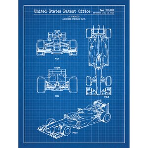 Automobiles Et Al 'Ferrari Indy Race Car 2013' Silk Screen Print Graphic Art in Blue Grid/White Ink by Inked and Screened