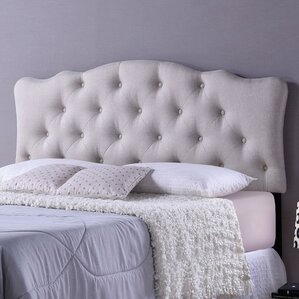 Rita Light Beige Scalloped Full Upholstered Panel Headboard by Wholesale Interiors