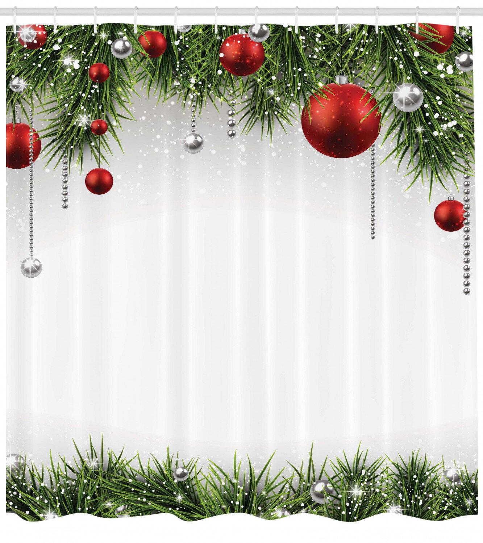 Shower Curtain Christmas Santa Claus Snowman Bathroom Curtain Ornament Xmas Gift
