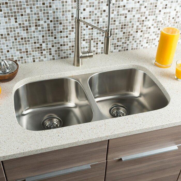 """hahn classic chef 32.25"""" x 18"""" double bowl undermount kitchen sink"""