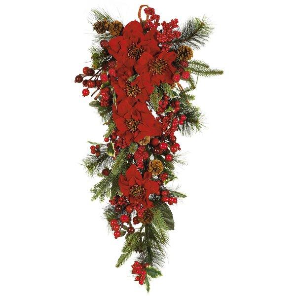 Nearly natural poinsettia teardrop silk plant swag reviews wayfair mightylinksfo
