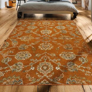 Floral Plant Orange Area Rugs You Ll Love Wayfair