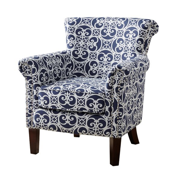 Olson Accent Club Chair With Arms Upholstered Silver Nail