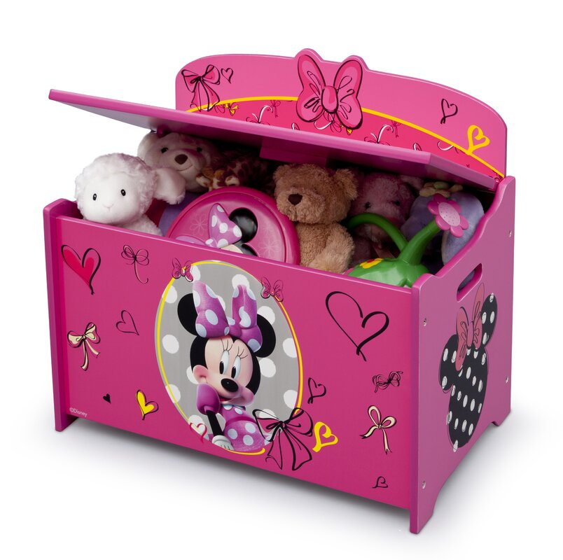 Minnie Mouse Bedroom 3 Drawer Storage Kids Wooden Box Pink: Delta Children Minnie Mouse Deluxe Toy Box & Reviews