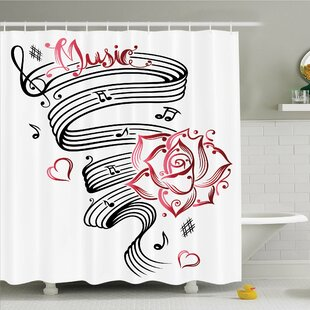Best Reviews Tattoo Pencil Drawing Romantic Hourglass Symbol of Eternal Love with Roses Shower Curtain Set By Ambesonne