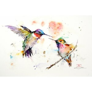 'Hummingbirds' by Dean Crouser Painting Print on Wrapped Canvas by East Urban Home