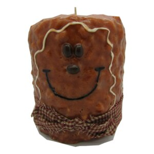 Gingerbread Man Pillar Candle