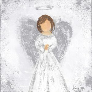 Praying Angel Painting Print on Canvas in Silver by Oopsy Daisy