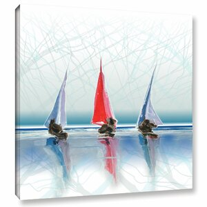 Sailing Boats II Painting Print on Wrapped Canvas by Breakwater Bay