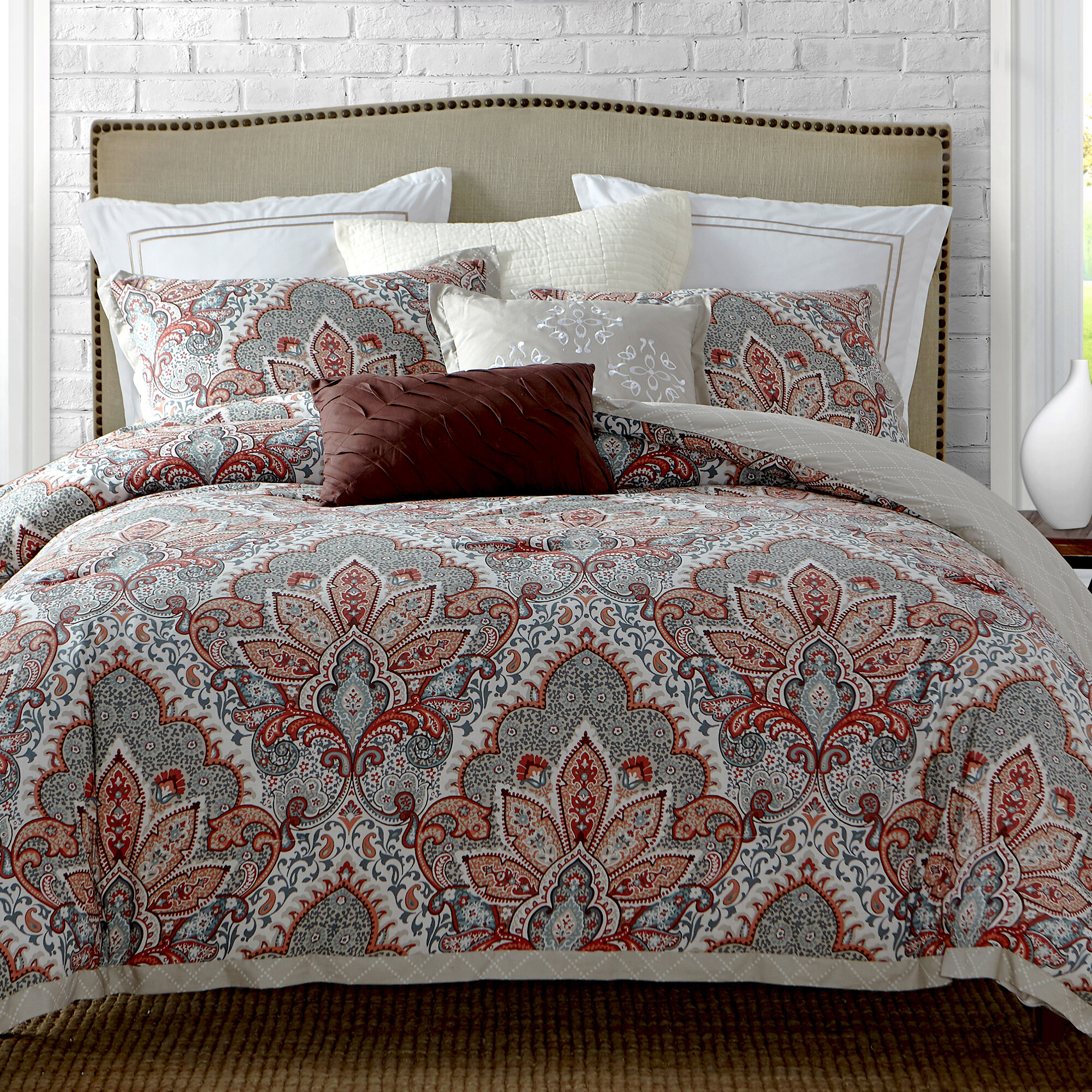 QUILTED 3 Pc COTTON REVERSIBLE WINTER BEDSPREAD COMFORTER THROW 2 PILLOW SET