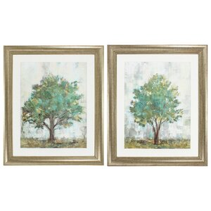 Verdi Trees Framed Painting Print (Set of 2) by Darby Home Co