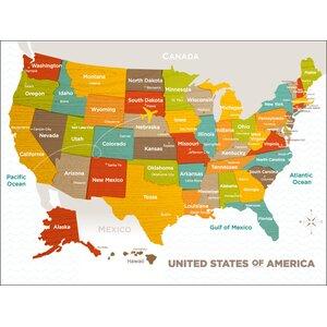 Jorden Wood Grain US Map Canvas Art by Viv + Rae