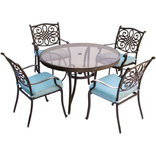 Lauritsen 5 Piece Dining Set with Cushions By Three Posts