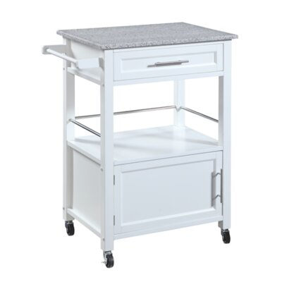 Andover Mills Elsie Kitchen Cart with Granite Top Base Finish: White