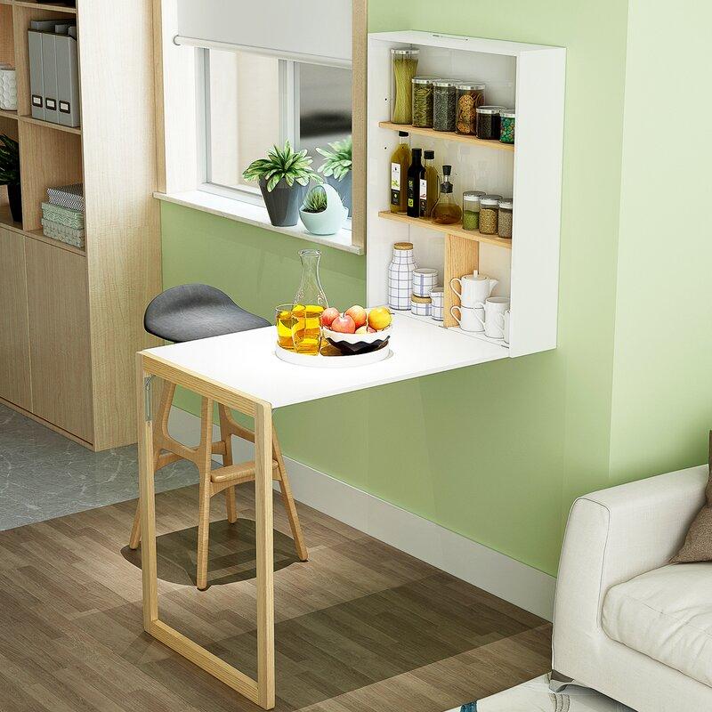 Ebern Designs Treanor Floating Desk With Hutch Reviews Wayfair